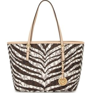 Michael Kors Zebra Print Large Tote Shoulder Bag